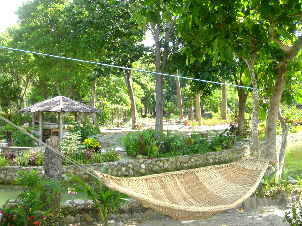 Photo of lagoon (a seasonal freshwater feature for swimming and recreation), a zipline suspended overhead and a hammock hung beside.