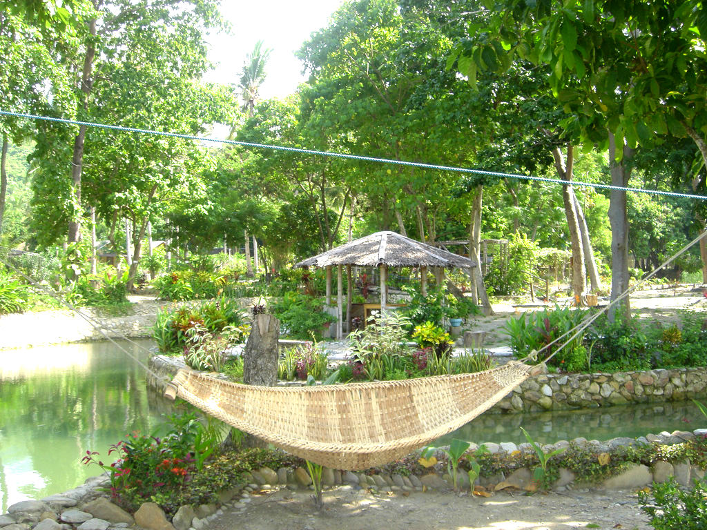 Photo of lagoon with zipline overhead and a hammock awaiting relaxers at Puerto Beach Resort