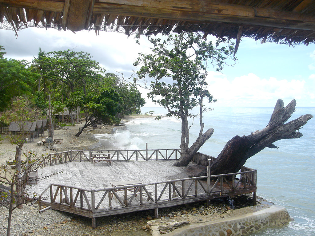 Photo from treehouse overlooking seaside deck, boat launch, palapas at Puerto Beach Resort.