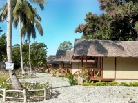 Photo of row of cottages opposite coconut trees with a warning sign not to stand beneath trees