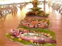 Savory Seafood laid out on a very long table at Puerto Beach Resort